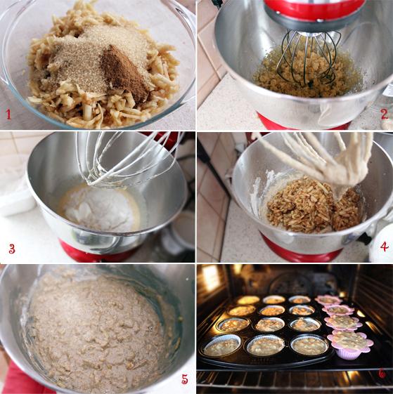 Preparare Muffins cu mere, zahar brun si scortisoara 1