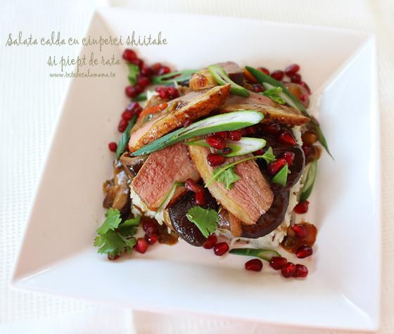 Preparare Salata calda cu ciuperci shiitake si piept de rata 8