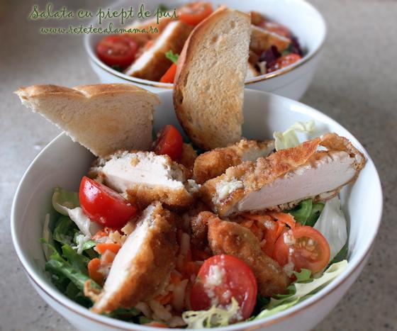Salata cu piept de pui, verdeturi si radacinoase, reteta pas cu pas, reteta salata cu pui si legume