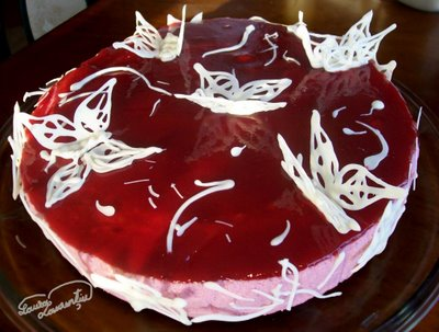 Preparare Tort cu zmeura si iaurt -Fluturi albi in zmeuris- 24