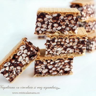 Napolitana cu ciocolata si orez expandat