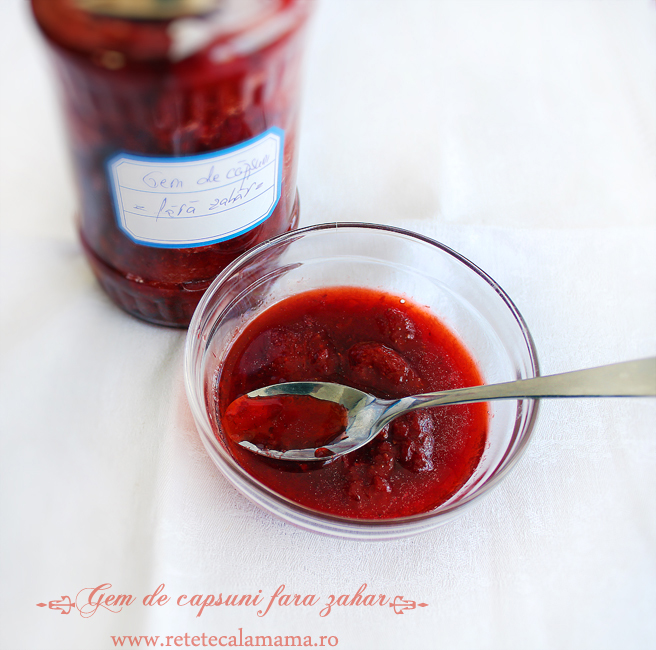 gem de capsuni fara zahar, reteta gem de capsuni cu suc de mere