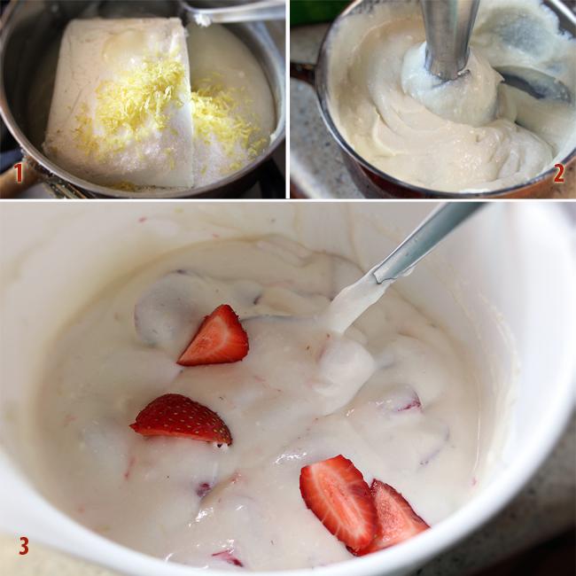 preparare crema cheesecake pentru rulada cu capsuni