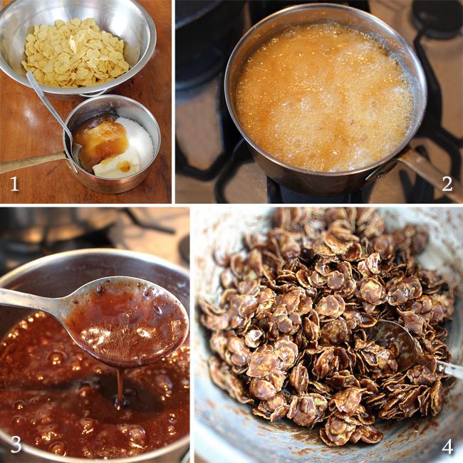 preparare prajituri cu fulgi de porumb, miere si ciocolata