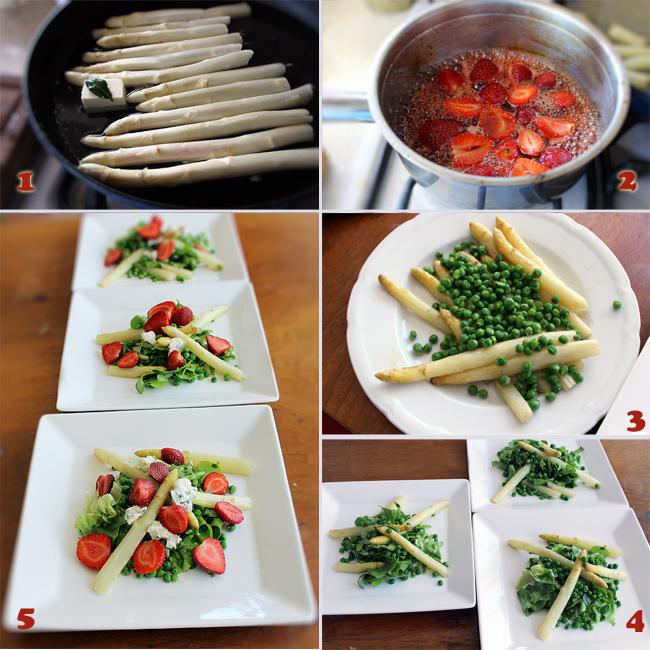 preparare salata sparanghel, capsuni si gorgonzola