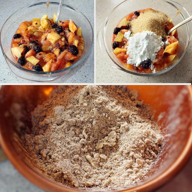 preparare crumble cu piersici, mango si mure