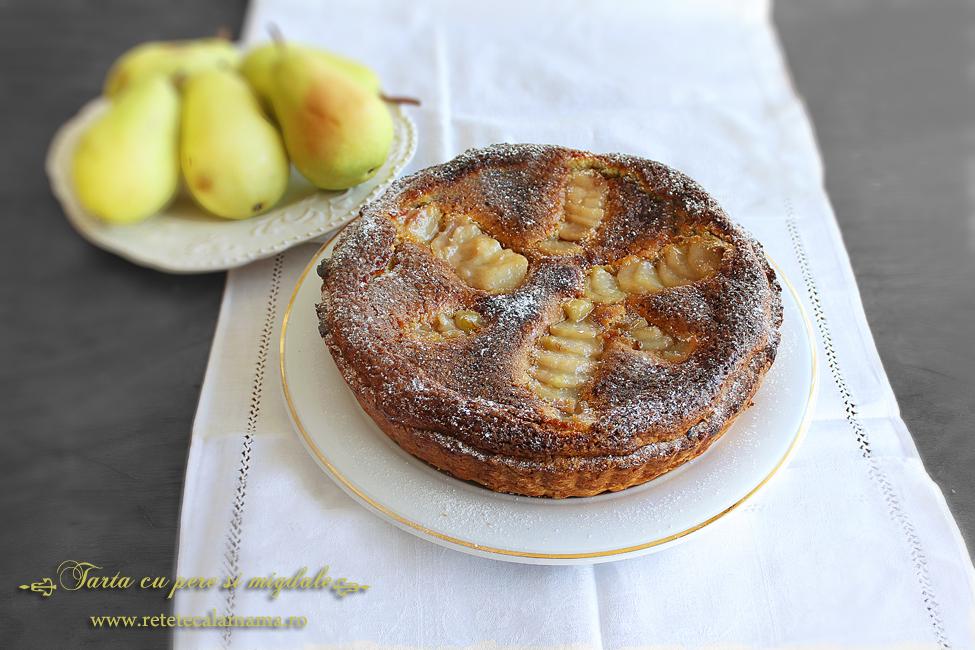 tarta cu pere si migdale, reteta tarta pere crema frangipane