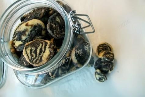 Biscuiti fragezi in doua culori, marmorati