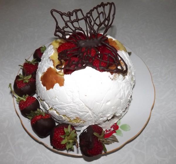 Tort cu zmeura si iaurt -Fluturi albi in zmeuris- by Ludmila