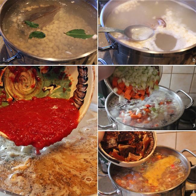 preparare ciorba de fasole cu tarhon si afumatura