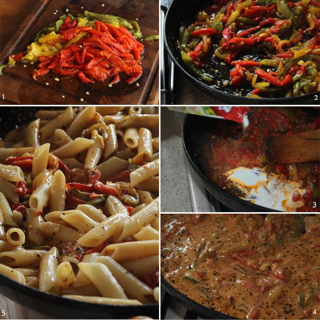 preparare paste cu sos de ardei copti