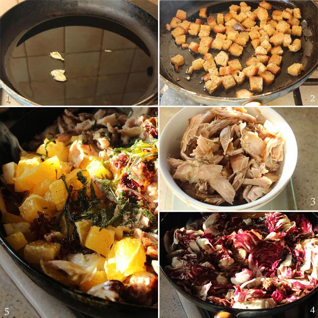 preparare salata de radicchio cu pui si portocale