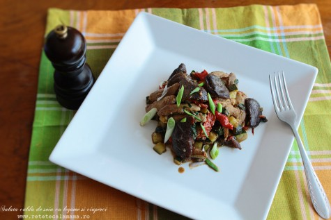 Salata calda cu soia, legume si ciuperci