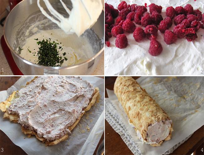 preparare crema si asamblare rulada de bezea cu migdale si zmeura