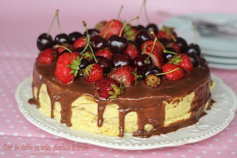 Tort de clatite cu urda, ciocolata si fructe