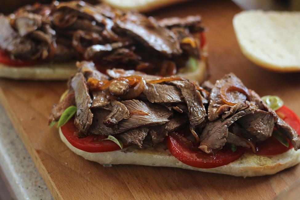 preparare sandwich exotic cu friptura de vita