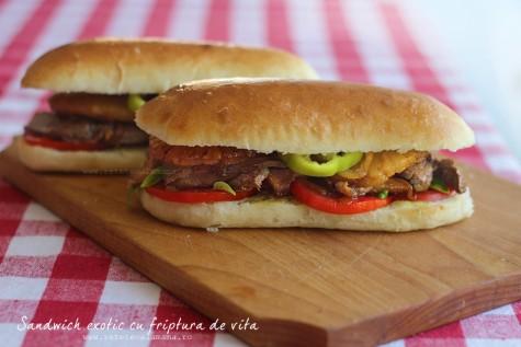 Sandwich exotic cu friptura de vita