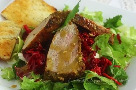 Muschiulet de porc in crusta de mustar