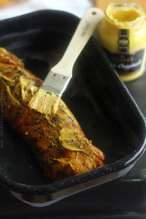 muschiulet in crusta de mustar preparare 2