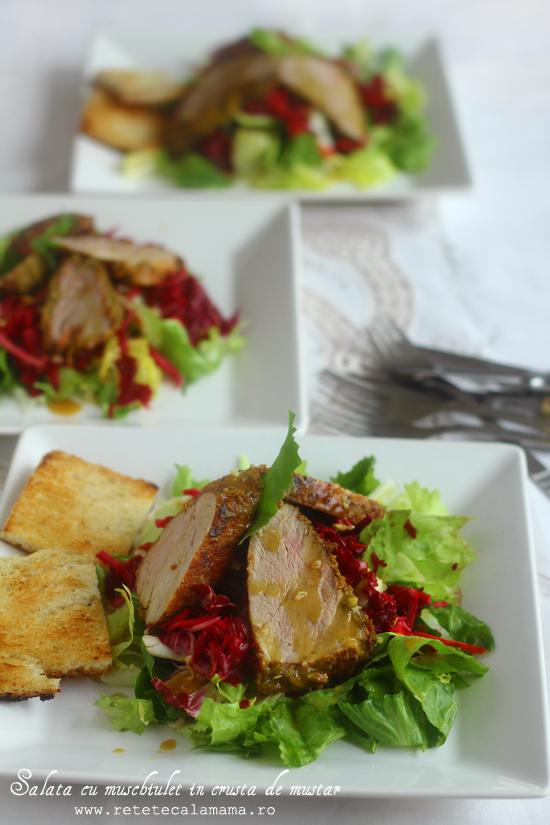 salata cu muschiulet de porc in crusta de mustar 2