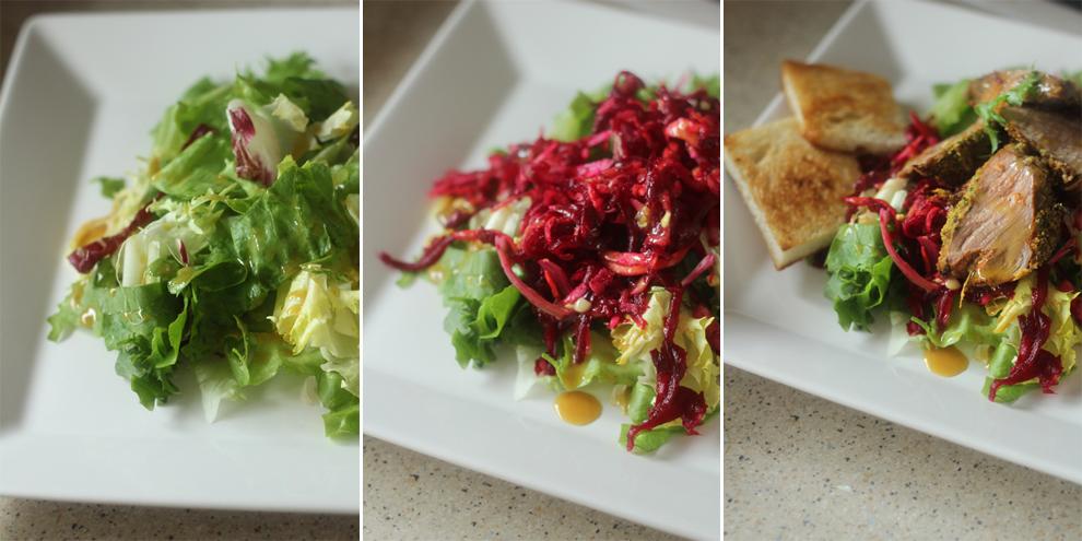 salata cu muschiulet de porc in crusta de mustar preparare 2