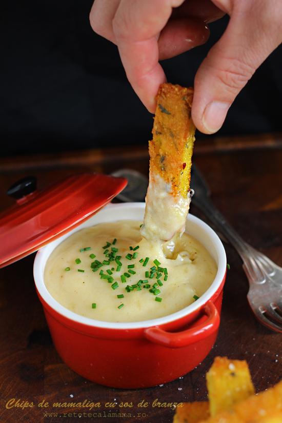 chips de mamaliga cu sos de branza 2s