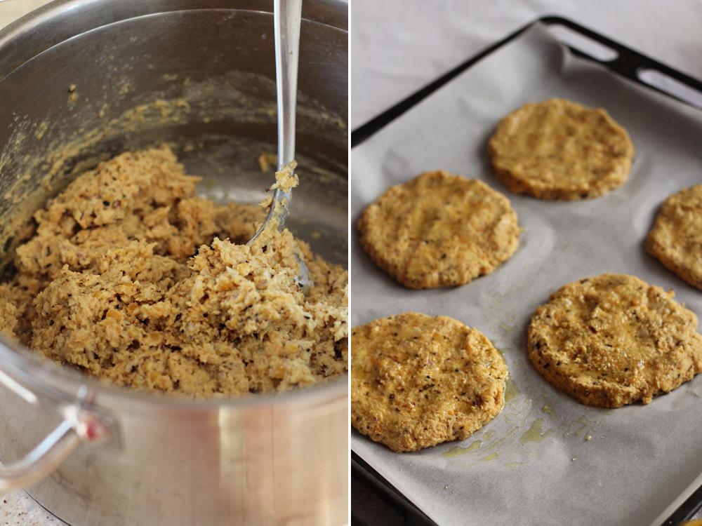 preparare chiftele de linte si conopida pentru burger vegan