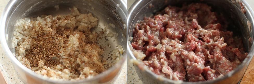preparare 3 sarmale cu carne de gasca in frunze de varza rosie