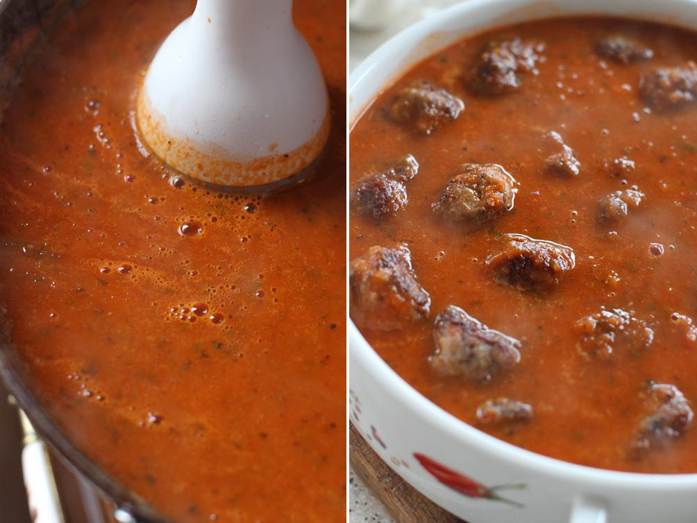 preparare chiftelute in sos de rosii cu busuioc
