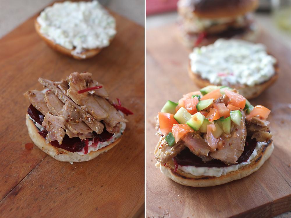 preparare sandwich cu friptura si crema liptauer 2