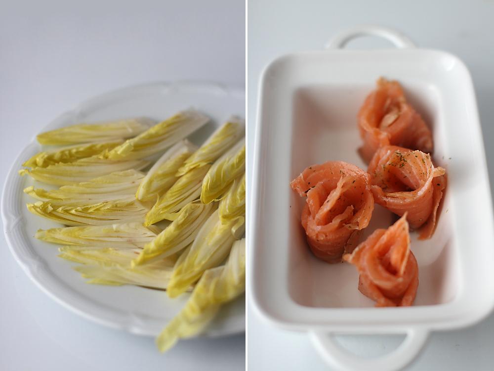 preparare salata de andive cu somon 2