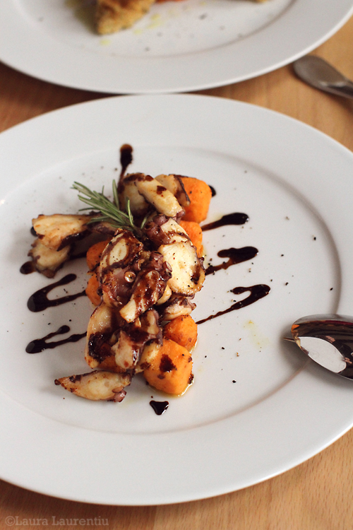 Octopus with sweet potatoes and balsamic vinegar
