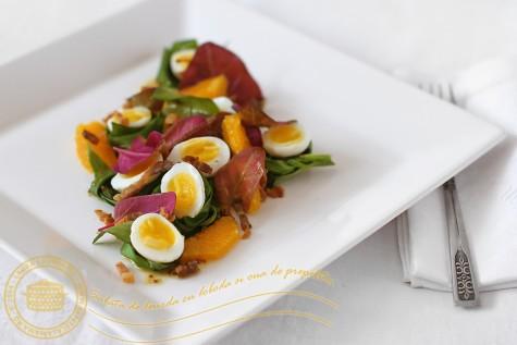 Salata de leurda, loboda si oua de prepelita