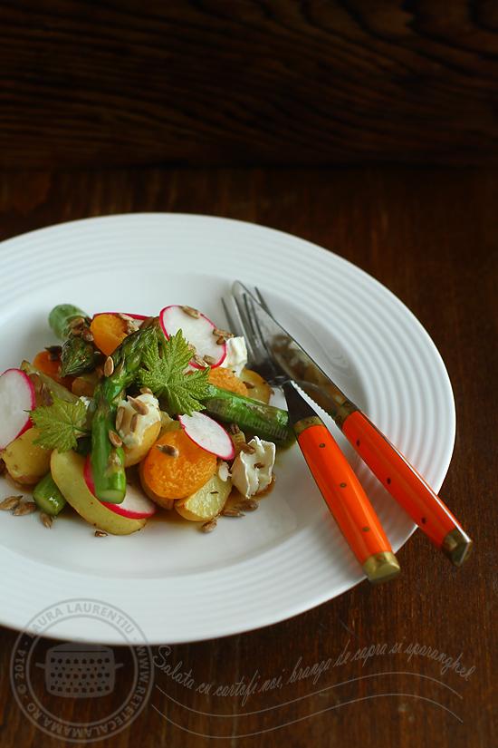 salata calda cu cartofi noi, spranghel si branza de capra1