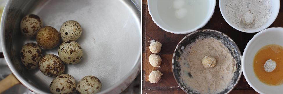 preparare oua de prepelita pane pentru salata cu sparanghel