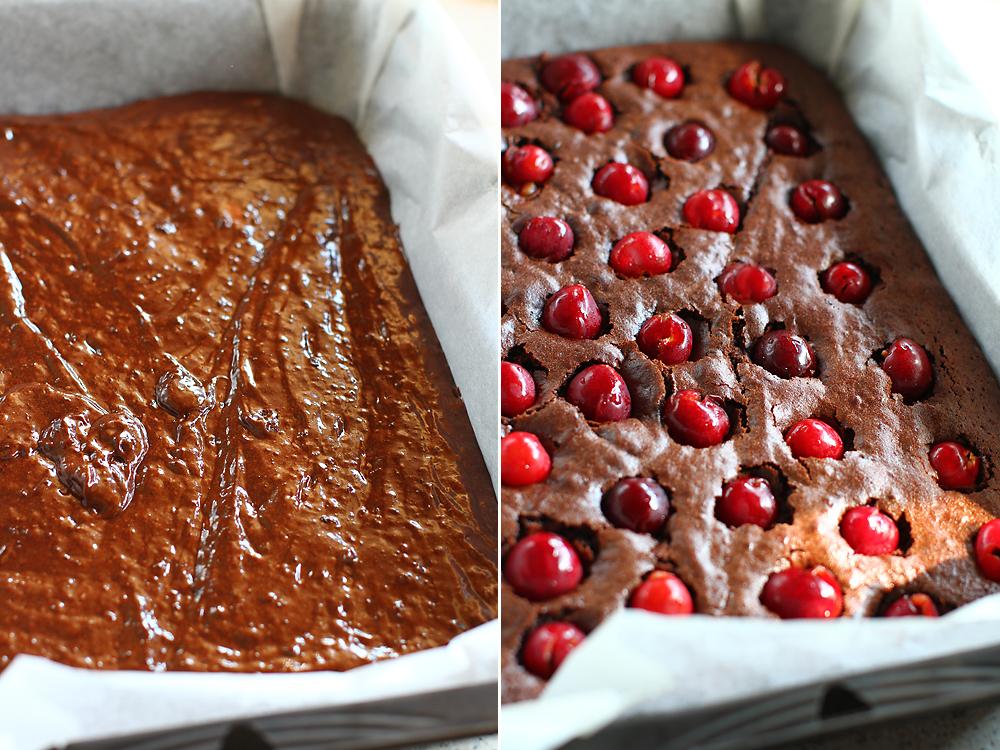 preparare prajitura cu ciocolata si cirese 4