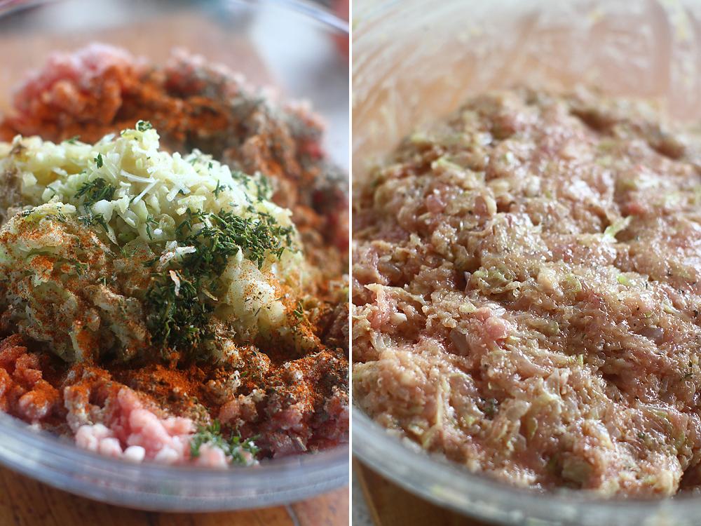 preparare chiftele cu pui si dovlecel 3