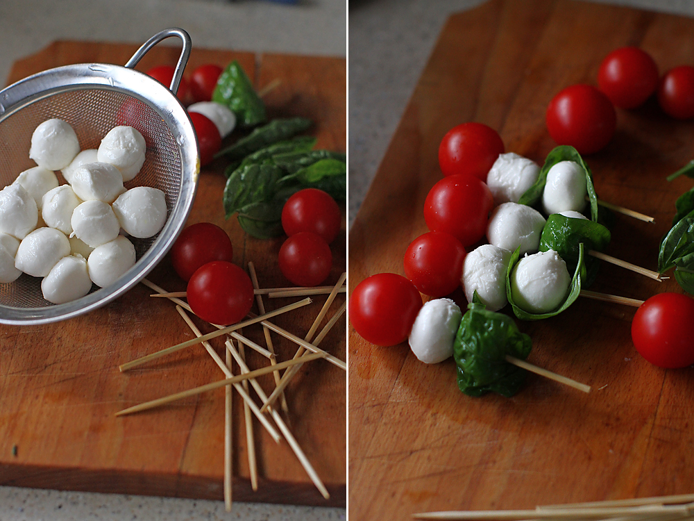 preparare aperitiv rece caprese kebab