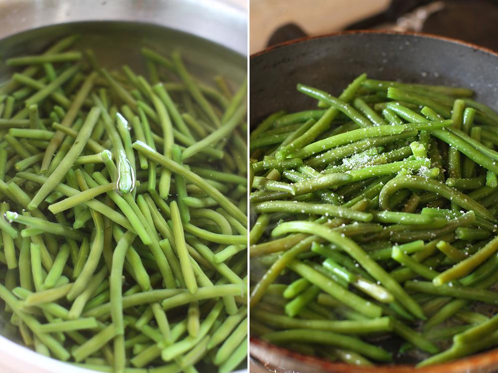 preparare fasole verde cu unt si usturoi
