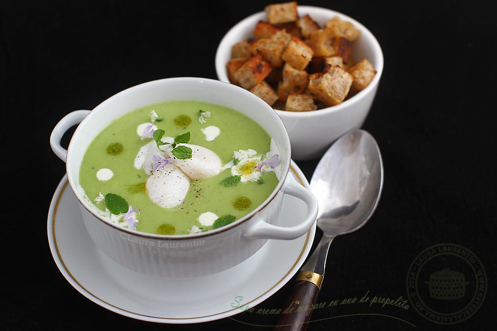 reteta supa crema de mazare cu ou de prepelita