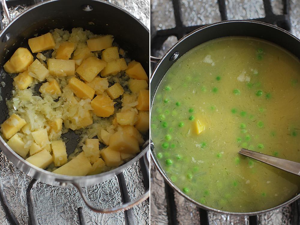 supa crema de mazare preparare 1