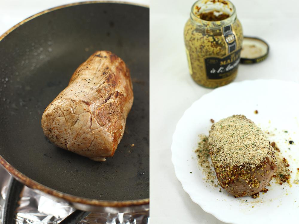 preparare muschiulet de porc in crusta de mustar
