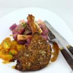 Pulpe de rata in crusta de mustar, cu portocale si salata calda de cartofi violeti si sparanghel alb