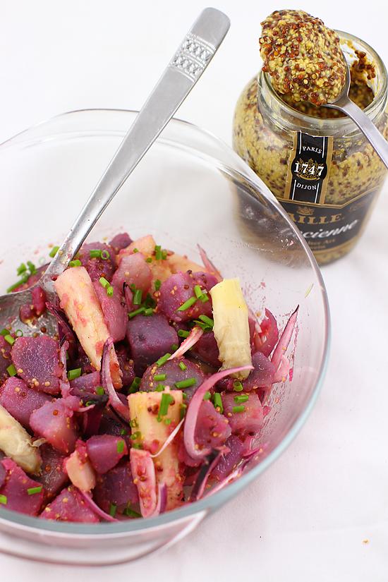 salata de cartofi mov cu mustar