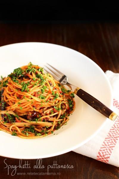 spaghetti alla puttanesca, reteta de paste puttanesca
