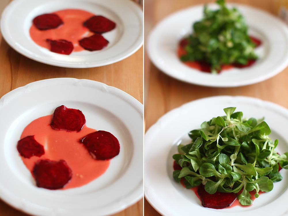 salata cu mere caramelizate, sfecla si roquefort-asamblare 1
