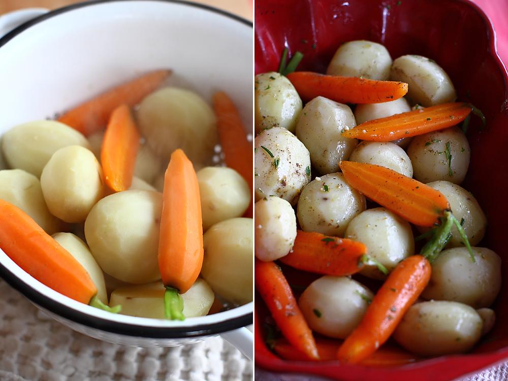 preparare friptura din pulpa de miel cu garnitura de cartofi noi si morcovi