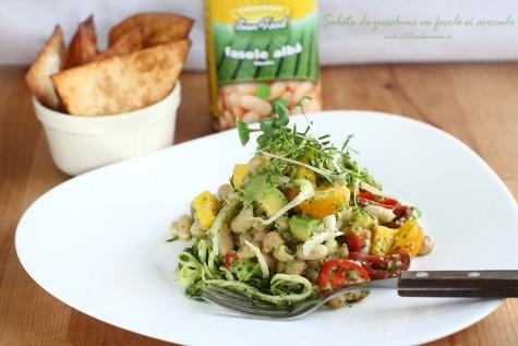 Salată de zucchini cu fasole alba și avocado