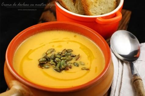 Supa crema de dovleac cu mustar Dijon