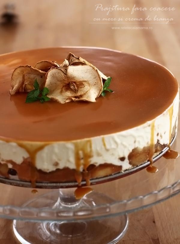 Prăjitură fără coacere cu mere și cremă de brânză